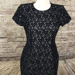French Connection Black Lace Dress. Brown underlay
